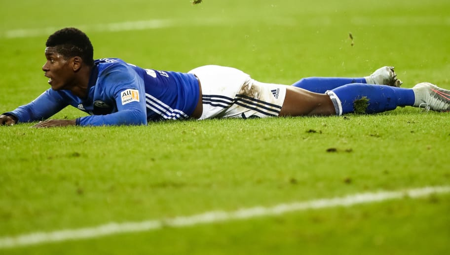 GELSENKIRCHEN, GERMANY - JANUARY 21: Breel Embolo of Schalke reacts during the Bundesliga match between FC Schalke 04 and Hannover 96 at Veltins-Arena on January 21, 2018 in Gelsenkirchen, Germany. (Photo by Maja Hitij/Bongarts/Getty Images)