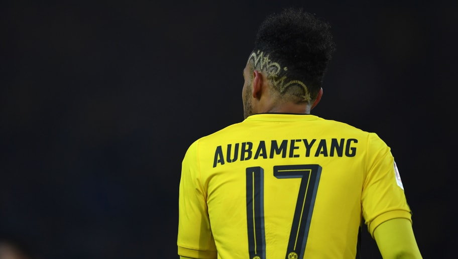 DORTMUND, GERMANY - DECEMBER 09: Pierre-Emerick Aubameyang of Dortmund looks on during the Bundesliga match between Borussia Dortmund and SV Werder Bremen at Signal Iduna Park on December 9, 2017 in Dortmund, Germany.  (Photo by Stuart Franklin/Bongarts/Getty Images )