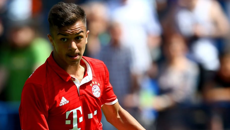 GELSENKIRCHEN, GERMANY - JUNE 11:  Oliver Batista Meier of Bayern runs with the ball during the B Juniors German Championship Semi Final match between FC Schalke and Bayern Muenchen at Ueckendorf Ground on June 11, 2017 in Gelsenkirchen, Germany.  (Photo by Christof Koepsel/Bongarts/Getty Images)