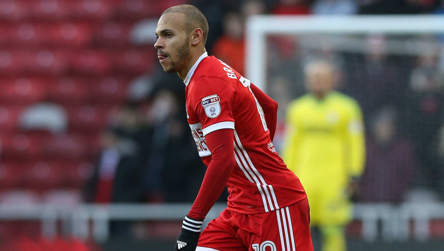 MIDDLESBROUGH, ENGLAND - JANUARY 06:  Martin Braithwaite  of Middlesbrough during The Emirates FA Cup Third Round match between Middlesbrough and Sunderland at the Riverside Stadium on January 6, 2018 in Middlesbrough, England. (Photo by Nigel Roddis/Getty Images)