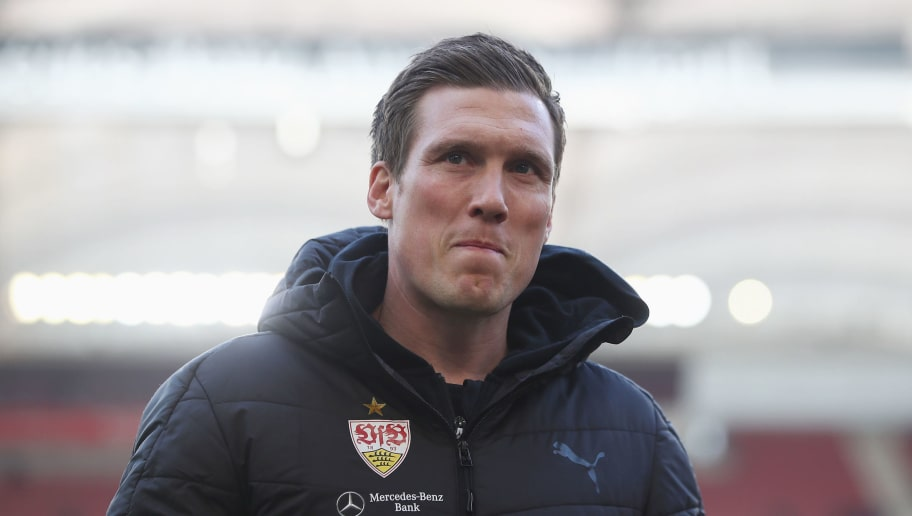 STUTTGART, GERMANY - JANUARY 27:  Head coach Hannes Wolf of Stuttgart looks on prior to the Bundesliga match between VfB Stuttgart and FC Schalke 04 at Mercedes-Benz Arena on January 27, 2018 in Stuttgart, Germany.  (Photo by Alex Grimm/Bongarts/Getty Images)