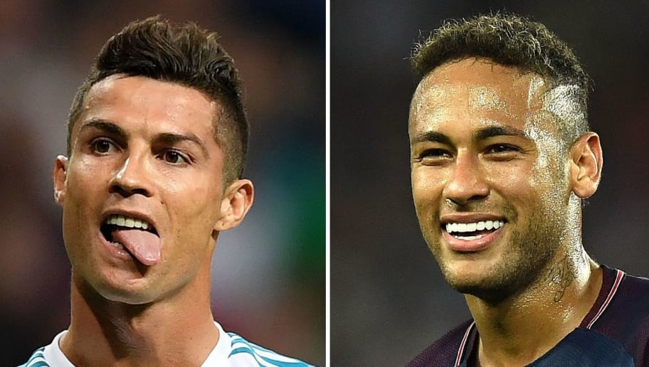 A combination of images shows (L-R) Barcelona's Argentinian forward Lionel Messi, Real Madrid's Portuguese forward Cristiano Ronaldo and Paris Saint-Germain's Brazilian striker Neymar. Neymar was named alongside Cristiano Ronaldo and Lionel Messi on the three-man shortlist for the Best FIFA Men's Player Award, which was announced in London on September 22, 2017. / AFP PHOTO / Lluis GENE        (Photo credit should read LLUIS GENE/AFP/Getty Images)