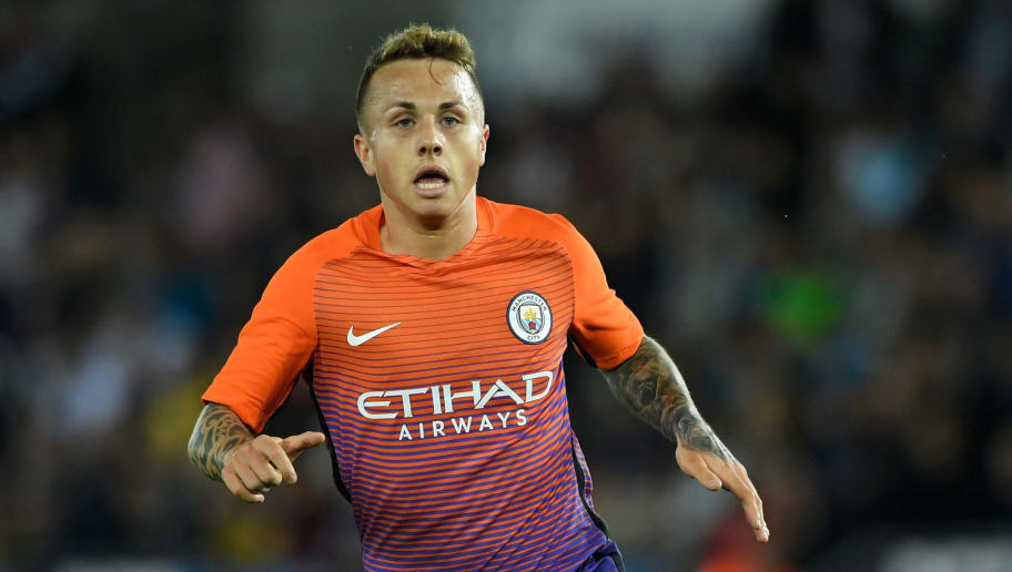 SWANSEA, WALES - SEPTEMBER 21:  Angelino Tasende of Manchester City in action during the EFL Cup Third Round match between Swansea City and Manchester City at the Liberty Stadium on September 21, 2016 in Swansea, Wales.  (Photo by Stu Forster/Getty Images)