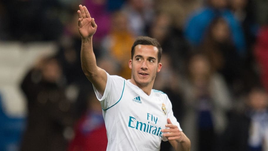 MADRID, SPAIN - JANUARY 10: Lucas Vazquez of Real Madrid celebrates after scoring his teamÕs 2nd goal during the Copa del Rey, round of 16, second leg match between between Real Madrid and Numancia at estadio Santiago Bernabeu on January 10, 2018 in Madrid, Spain. (Photo by Denis Doyle/Getty Images)