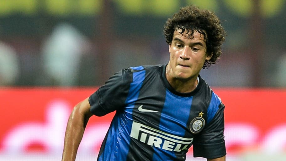 Inter Milan's Brazilian forward Philippe Coutinho controls the ball during the UEFA Europe League third qualifying round football match between Inter Milan and Hajduk Split in the San Siro's stadium in Milan on August 9, 2012. Hajduk Split won 2-0.   AFP PHOTO / ANDREAS SOLARO        (Photo credit should read ANDREAS SOLARO/AFP/GettyImages)