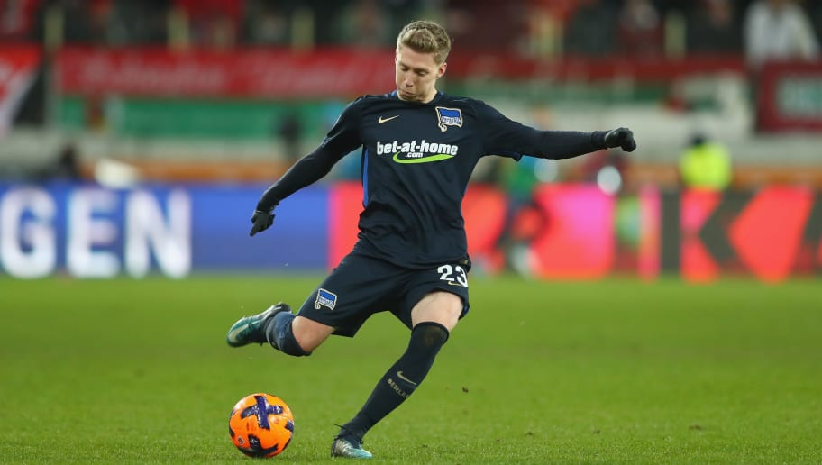 AUGSBURG, GERMANY - DECEMBER 10:  Mitchell Weiser  of Berlin runs with the ball during the Bundesliga match between FC Augsburg and Hertha BSC at WWK-Arena on December 10, 2017 in Augsburg, Germany.  (Photo by Alexander Hassenstein/Bongarts/Getty Images)