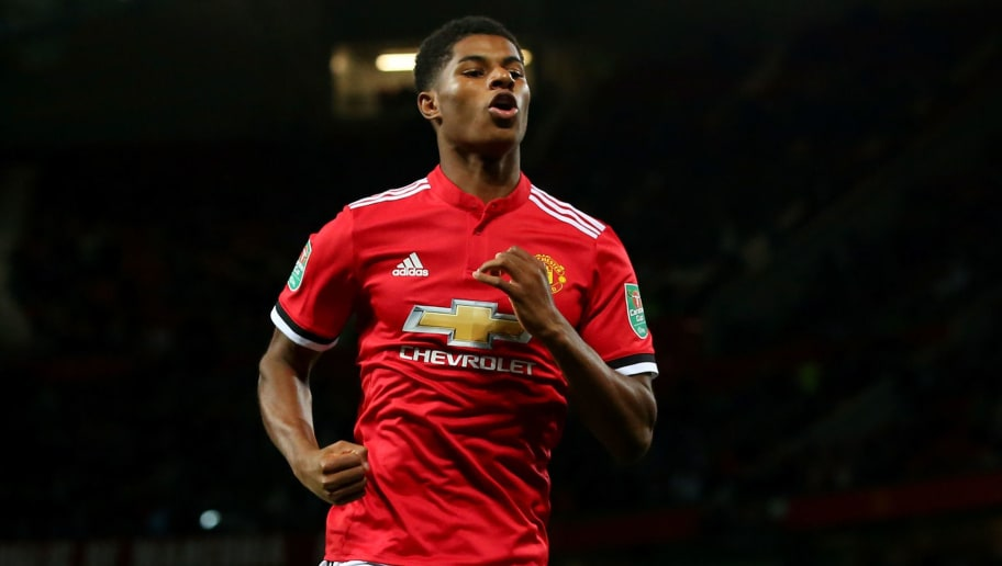 MANCHESTER, ENGLAND - SEPTEMBER 20: Marcus Rashford of Manchester United celebrates scoring his sides first goal during the Carabao Cup Third Round match between Manchester United and Burton Albion at Old Trafford on September 20, 2017 in Manchester, England.  (Photo by Alex Livesey/Getty Images)
