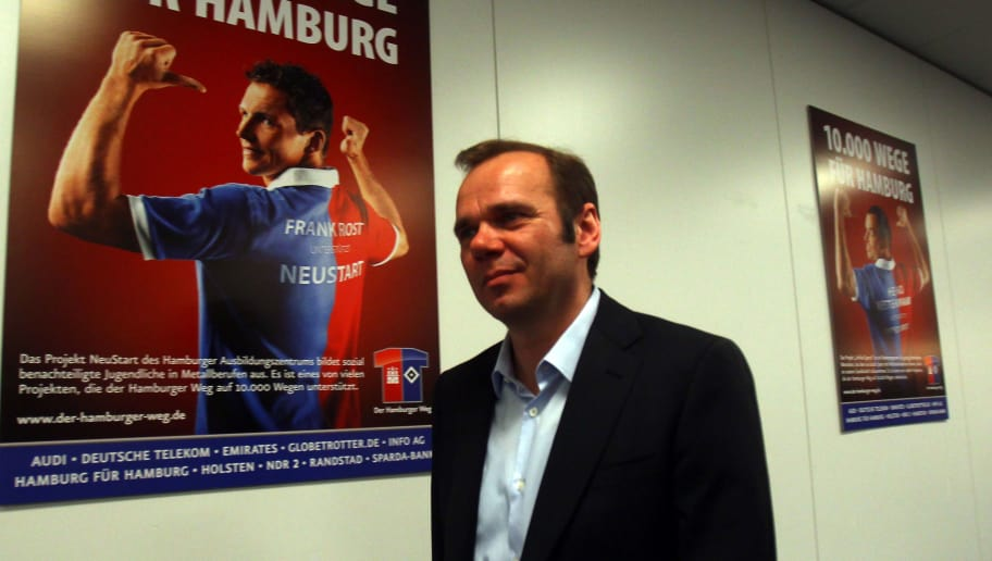 HAMBURG, GERMANY - MARCH 13:  Bernd Hoffmann, president of Hamburger SV looks on during a press conference of Bundesliga football club Hamburger SV at Imtech Arena on March 13, 2011 in Hamburg, Germany. Hamburger SV announced today the dismissal of head coach Armin Veh, effective immediately.  (Photo by Martin Rose/Bongarts/Getty Images)