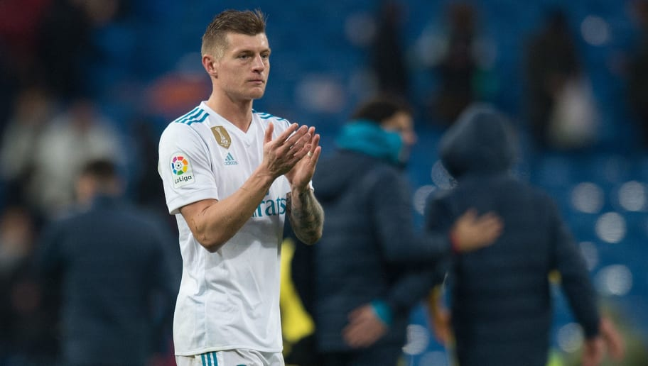 MADRID, SPAIN - JANUARY 13: Toni Kroos of Real Madrid applauds fans after the La Liga match between Real Madrid and Villarreal at Estadio Santiago Bernabeu on January 13, 2018 in Madrid, Spain. (Photo by Denis Doyle/Getty Images)
