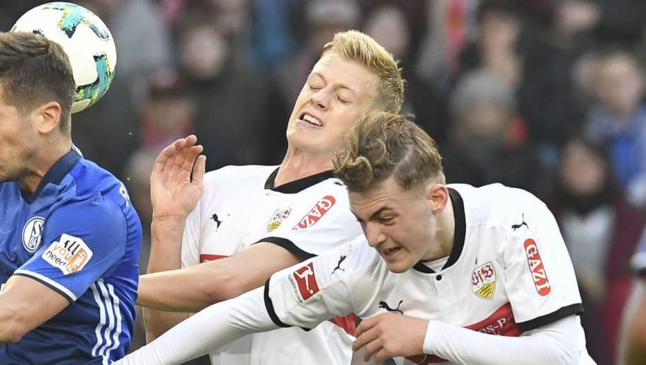 (R-L) Stuttgart's Danish midfielder Jacob Bruun Larsen, defender Timo Baumgartl and Schalke's Serbian defender Matija Nastasic and defender Bastian Oczipka vie for the ball during the German first division Bundesliga football match VfB Stuttgart vs Schalke 04 in Stuttgart, southwestern Germany, on January 27, 2018. / AFP PHOTO / THOMAS KIENZLE / RESTRICTIONS: DURING MATCH TIME: DFL RULES TO LIMIT THE ONLINE USAGE TO 15 PICTURES PER MATCH AND FORBID IMAGE SEQUENCES TO SIMULATE VIDEO. == RESTRICTED TO EDITORIAL USE == FOR FURTHER QUERIES PLEASE CONTACT DFL DIRECTLY AT + 49 69 650050         (Photo credit should read THOMAS KIENZLE/AFP/Getty Images)