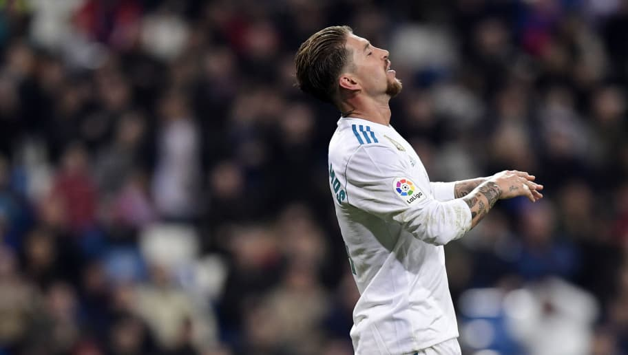 Real Madrid's Spanish defender Sergio Ramos gestures during the Spanish 'Copa del Rey' (King's cup) quarter-final second leg football match between Real Madrid CF and CD Leganes at the Santiago Bernabeu stadium in Madrid on January 24, 2018.  / AFP PHOTO / JAVIER SORIANO        (Photo credit should read JAVIER SORIANO/AFP/Getty Images)
