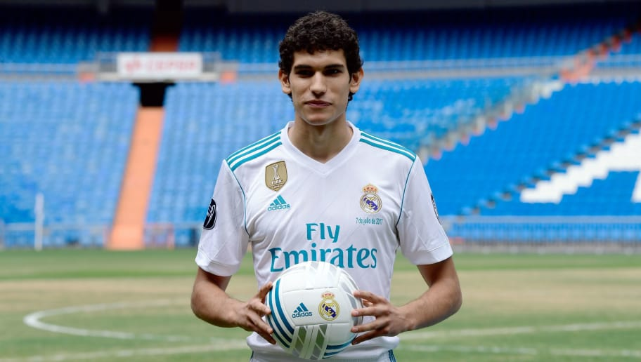 Real Madrid's new player Jesus Vallejo poses after his official presentation at the Santiago Bernabeu stadium in Madrid, on July 7, 2017. / AFP PHOTO / JAVIER SORIANO        (Photo credit should read JAVIER SORIANO/AFP/Getty Images)