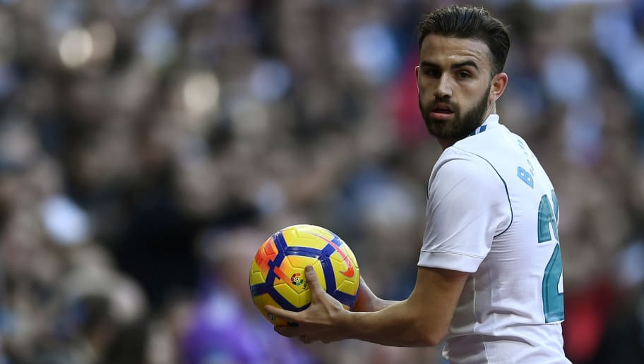 Real Madrid's Spanish forward Borja Mayoral looks on during the Spanish league football match between Real Madrid CF and RC Deportivo de la Coruna at the Santiago Bernabeu stadium in Madrid on January 21, 2018. / AFP PHOTO / OSCAR DEL POZO        (Photo credit should read OSCAR DEL POZO/AFP/Getty Images)