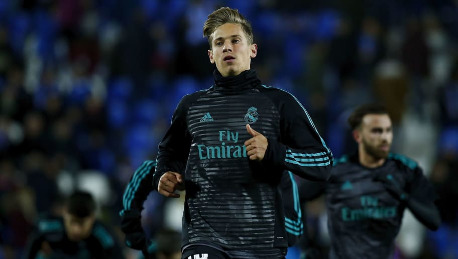 LEGANES, SPAIN - JANUARY 18: Marcos Llorente of Real Madrid CF in action during his warming-up session before the Copa del Rey quarter final first leg match between Real Madrid CF and Club Deportivo Leganes at Estadio Municipal de Butarque on January 18, 2018 in Leganes, Spain.  (Photo by Gonzalo Arroyo Moreno/Getty Images)