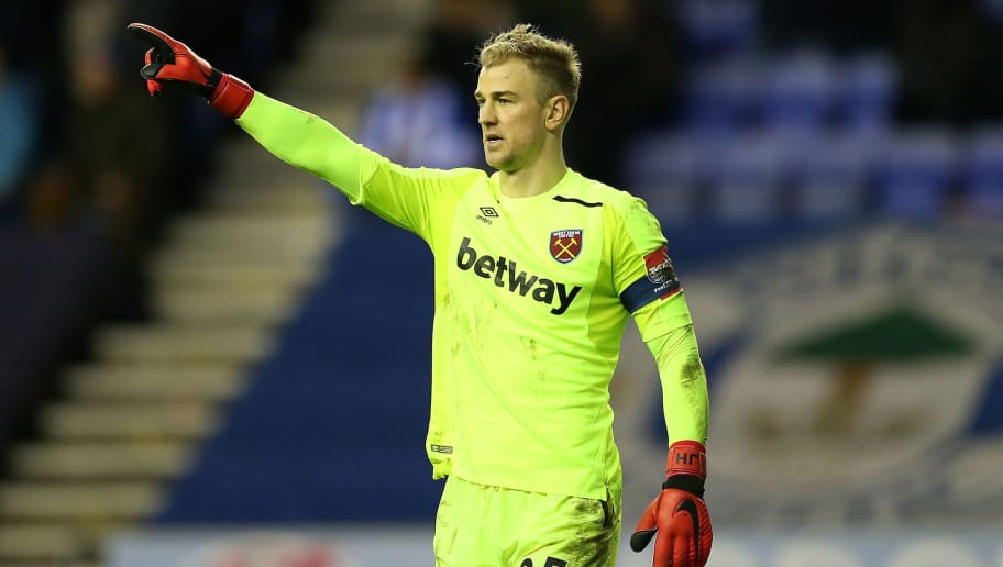 WIGAN, ENGLAND - JANUARY 27:  Joe Hart of West Ham United looks on during the Emirates FA Cup Fourth Round match between Wigan Athletic and West Ham United at DW Stadium on January 27, 2018 in Wigan, United Kingdom.  (Photo by Jan Kruger/Getty Images)