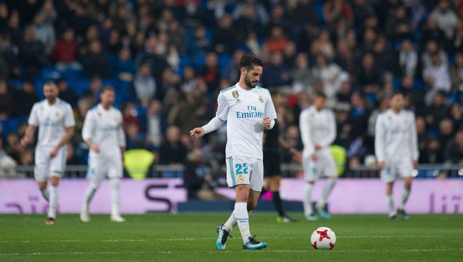 MADRID, SPAIN - JANUARY 24:  Isco Alarcon of Real Madrid waits to kick-off after Leganes scored their 2nd goal during the Copa del Rey, Quarter Final, Second Leg match between Real Madrid and Leganes at the Santiago Bernabeu stadium on January 24, 2018 in Madrid, Spain. (Photo by Denis Doyle/Getty Images)