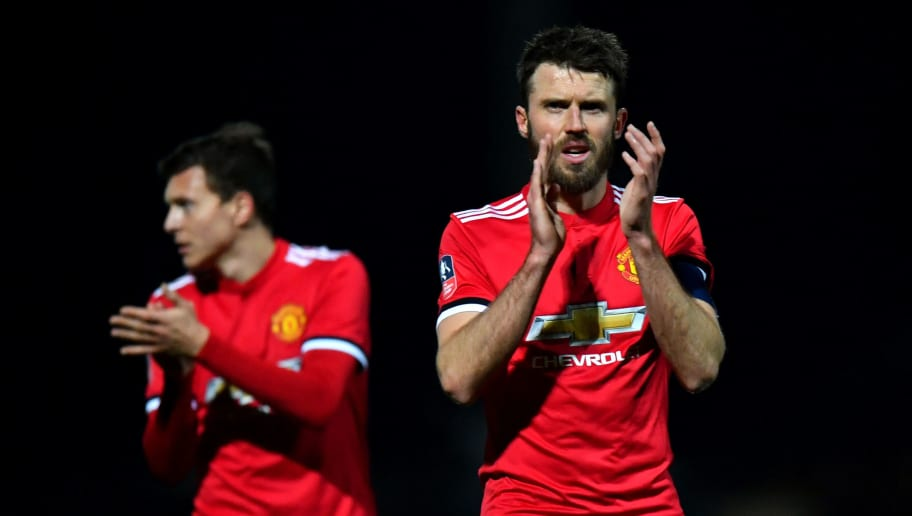 YEOVIL, ENGLAND - JANUARY 26:  Michael Carrick of Manchester United claps the fans after The Emirates FA Cup Fourth Round match between Yeovil Town and Manchester United at Huish Park on January 26, 2018 in Yeovil, England.  (Photo by Dan Mullan/Getty Images)