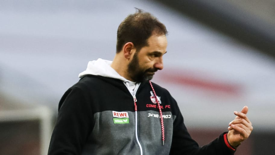 COLOGNE, GERMANY - JANUARY 27: Stefan Ruthenbeck Head Coach of 1. FC Koeln reacts during the Bundesliga match between 1. FC Koeln and FC Augsburg at RheinEnergieStadion on January 27, 2018 in Cologne, Germany. (Photo by Maja Hitij/Bongarts/Getty Images)