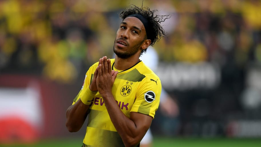 Dortmund's Gabonese striker Pierre-Emerick Aubameyang reacts during the German First division Bundesliga football match Borussia Dortmund  vs Borussia Moenchengladbach in Dortmund, western Germany, on September 23, 2017. / AFP PHOTO / PATRIK STOLLARZ        (Photo credit should read PATRIK STOLLARZ/AFP/Getty Images)