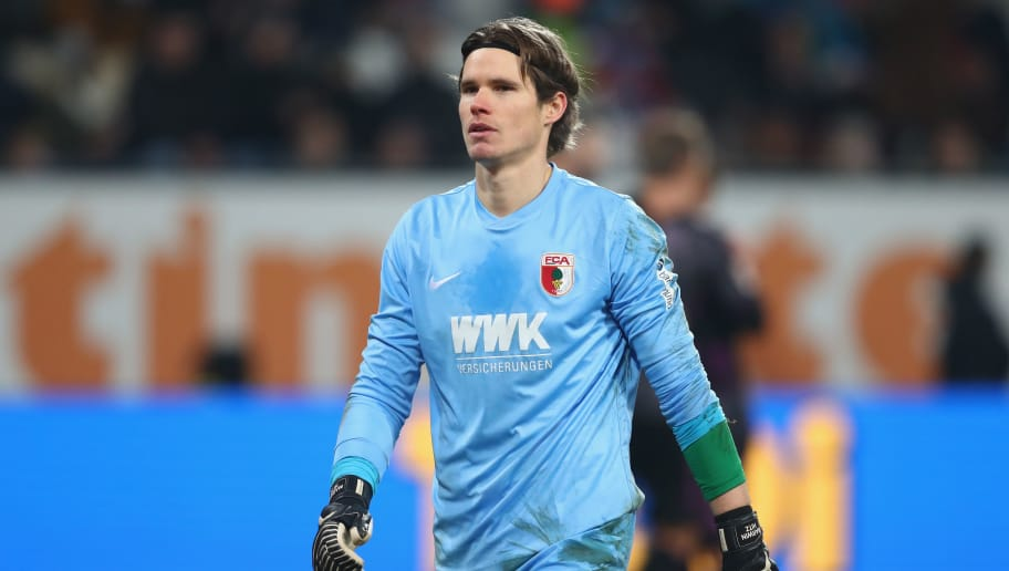 AUGSBURG, GERMANY - DECEMBER 16:  Marwin Hitz, keeper of Augsburg looks on during the Bundesliga match between FC Augsburg and Sport-Club Freiburg at WWK-Arena on December 16, 2017 in Augsburg, Germany.  (Photo by Alexander Hassenstein/Bongarts/Getty Images)