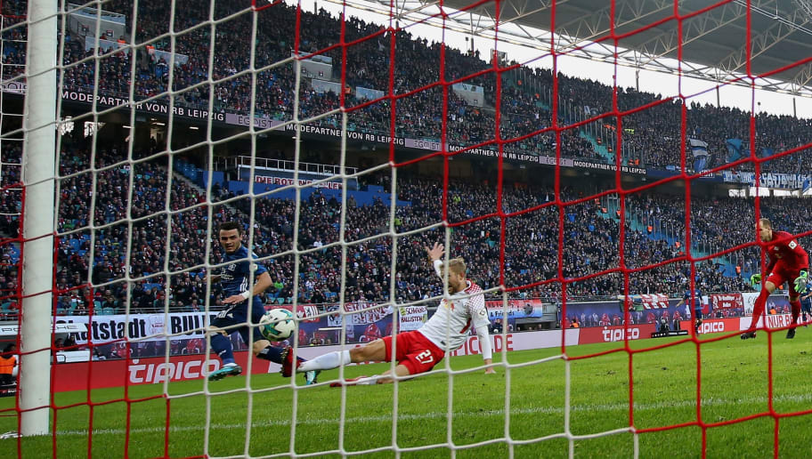 LEIPZIG, GERMANY - JANUARY 27:  Filip Kostic of Hamburger SV scores his team's first goal during the Bundesliga match between RB Leipzig and Hamburger SV at Red Bull Arena on January 27, 2018 in Leipzig, Germany.  (Photo by Boris Streubel/Bongarts/Getty Images)