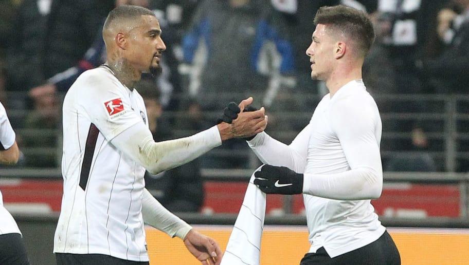Frankfurt's Serbian forward Luka Jovic (R) celebrates scoring the 2-0 goal with Frankfurt's Ghanaian midfielder Kevin-Prince Boateng during the German first division Bundesliga football match, Eintracht Frankfurt v Borussia Moenchengladbach on January 26, 2018 in Frankfurt am Main, western Germany. / AFP PHOTO / Daniel ROLAND / RESTRICTIONS: DURING MATCH TIME: DFL RULES TO LIMIT THE ONLINE USAGE TO 15 PICTURES PER MATCH AND FORBID IMAGE SEQUENCES TO SIMULATE VIDEO. == RESTRICTED TO EDITORIAL USE == FOR FURTHER QUERIES PLEASE CONTACT DFL DIRECTLY AT + 49 69 650050  / RESTRICTIONS: DURING MATCH TIME: DFL RULES TO LIMIT THE ONLINE USAGE TO 15 PICTURES PER MATCH AND FORBID IMAGE SEQUENCES TO SIMULATE VIDEO. == RESTRICTED TO EDITORIAL USE == FOR FURTHER QUERIES PLEASE CONTACT DFL DIRECTLY AT + 49 69 650050        (Photo credit should read DANIEL ROLAND/AFP/Getty Images)