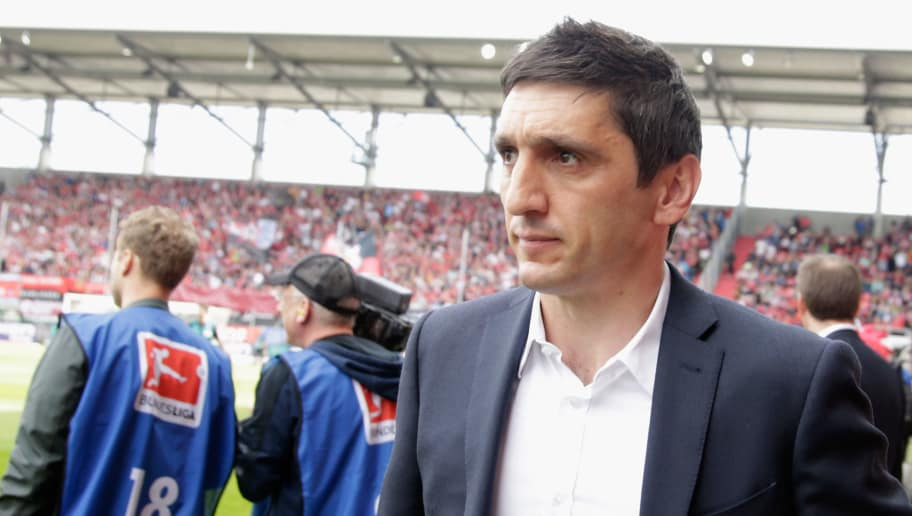INGOLSTADT, GERMANY - MAY 06:  Tayfun Korkut, head coach of Leverkusen arrives for the Bundesliga match between FC Ingolstadt 04 and Bayer 04 Leverkusen at Audi Sportpark on May 6, 2017 in Ingolstadt, Germany.  (Photo by Johannes Simon/Bongarts/Getty Images)