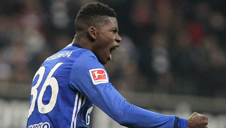 Schalke's Swiss forward Breel Embolo celebrates scoring the 2-1 during the German first division Bundesliga football match between FC Schalke 04 and Eintracht Frankfurt on December 16, 2017 in Frankfurt am Main, western Germany. / AFP PHOTO / Daniel ROLAND / RESTRICTIONS: DURING MATCH TIME: DFL RULES TO LIMIT THE ONLINE USAGE TO 15 PICTURES PER MATCH AND FORBID IMAGE SEQUENCES TO SIMULATE VIDEO. == RESTRICTED TO EDITORIAL USE == FOR FURTHER QUERIES PLEASE CONTACT DFL DIRECTLY AT + 49 69 650050         (Photo credit should read DANIEL ROLAND/AFP/Getty Images)