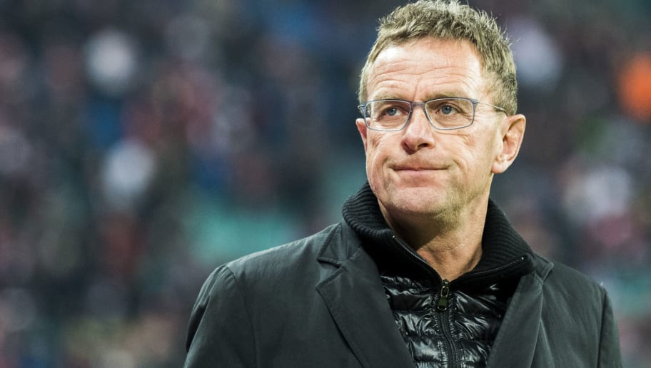 Leipzig´s Manager Ralf Rangnick looks on prior to the German first division Bundesliga football match between RB Leipzig and Schalke 04 in Leipzig, eastern Germany on January 13, 2018.  / AFP PHOTO / ROBERT MICHAEL        (Photo credit should read ROBERT MICHAEL/AFP/Getty Images)