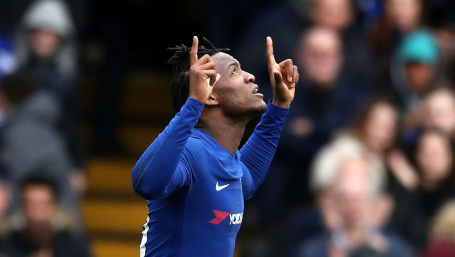 LONDON, ENGLAND - JANUARY 28:  Michy Batshuayi of Chelsea celebrates after scoring his sides first goal during The Emirates FA Cup Fourth Round match between Chelsea and Newcastle on January 28, 2018 in London, United Kingdom.  (Photo by Catherine Ivill/Getty Images)