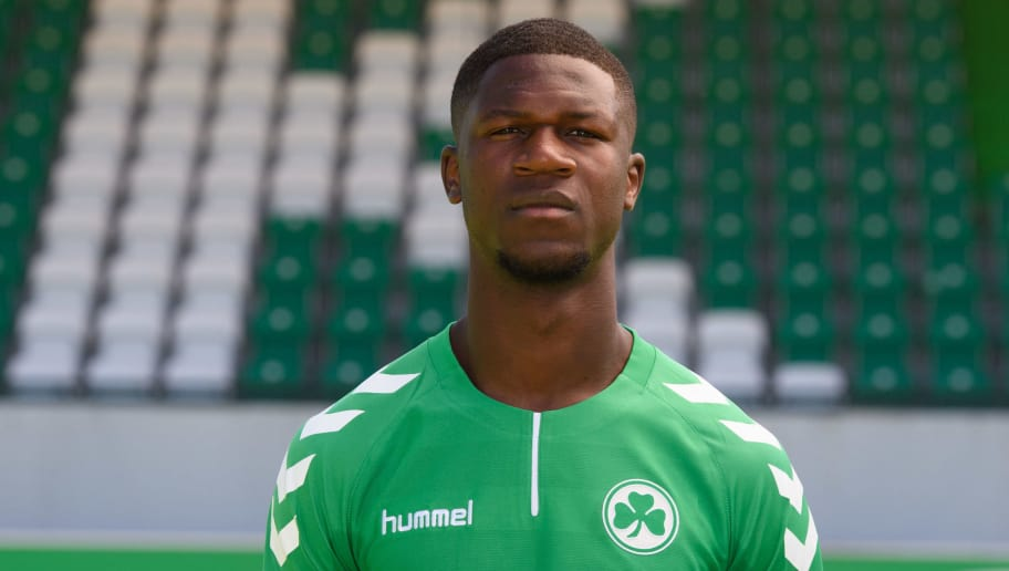 FUERTH, GERMANY - JULY 06: Stephen Sama of SpVgg Greuther Fuerth poses during the team presentation at Sportpark Ronhof on July 6, 2017 in Fuerth, Germany. (Photo by Sebastian Widmann/Bongarts/Getty Images)