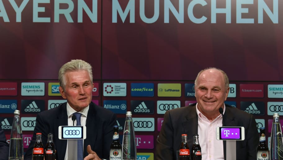 German first division club Bayern Munich's new head coach Jupp Heynckes (L) and  Bayern's president Uli Hoeness give a press conference following Heynckes' nomination on October 9, 2017 in Munich, southern Germany. 72-year-old Jupp Heynckes has come out of a four-year retirement to take charge of Bayern Munich for a fourth time, after Italian Carlo Ancelotti was sacked 10 days ago. / AFP PHOTO / Christof STACHE        (Photo credit should read CHRISTOF STACHE/AFP/Getty Images)