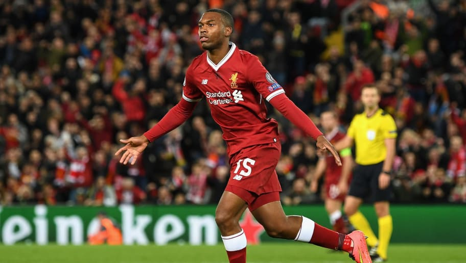 LIVERPOOL, ENGLAND - NOVEMBER 01: Daniel Sturridge of Liverpool scores his sides third goal during the UEFA Champions League group E match between Liverpool FC and NK Maribor at Anfield on November 1, 2017 in Liverpool, United Kingdom.  (Photo by Michael Regan/Getty Images)