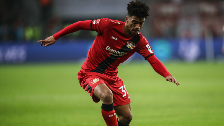 LEVERKUSEN, GERMANY - Benjamin Henrichs #39 of Bayer Leverkusen controls the ball during the Bundesliga match between Bayer 04 Leverkusen and FC Bayern Muenchen at BayArena on January 12, 2018 in Leverkusen, Germany. (Photo by Maja Hitij/Bongarts/Getty Images)