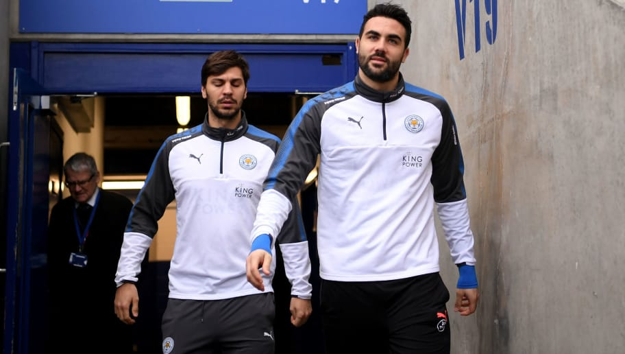 LEICESTER, ENGLAND - JANUARY 20: Vicente Iborra of Leicester City and Aleksander Dragovic of Leicester City arrive at the stadium prior to the Premier League match between Leicester City and Watford at The King Power Stadium on January 20, 2018 in Leicester, England.  (Photo by Laurence Griffiths/Getty Images)