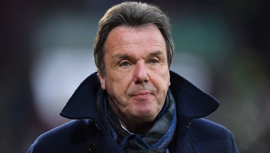 AUGSBURG, GERMANY - JANUARY 13: Heribert Bruchhagen, manager of Hamburg, before the Bundesliga match between FC Augsburg and Hamburger SV at WWK-Arena on January 13, 2018 in Augsburg, Germany. (Photo by Sebastian Widmann/Bongarts/Getty Images)