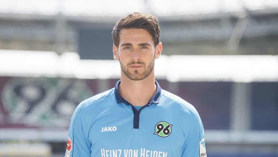 HANOVER, GERMANY - JULY 07:  Samuel Sahin-Radlinger poses during the team presentation of Hannover 96 on July 7, 2016 in Hanover, Germany.  (Photo by Nigel Treblin/Bongarts/Getty Images)