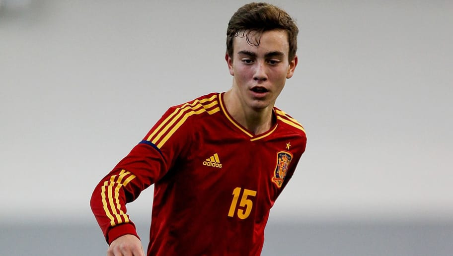 BURTON-UPON-TRENT, ENGLAND - FEBRUARY 11: Oriol Busquets of Spain in action during a U16 International match between Spain and Belgium at St Georges Park on February 11, 2014 in Burton-upon-Trent, England.  (Photo by Ben Hoskins/Getty Images)