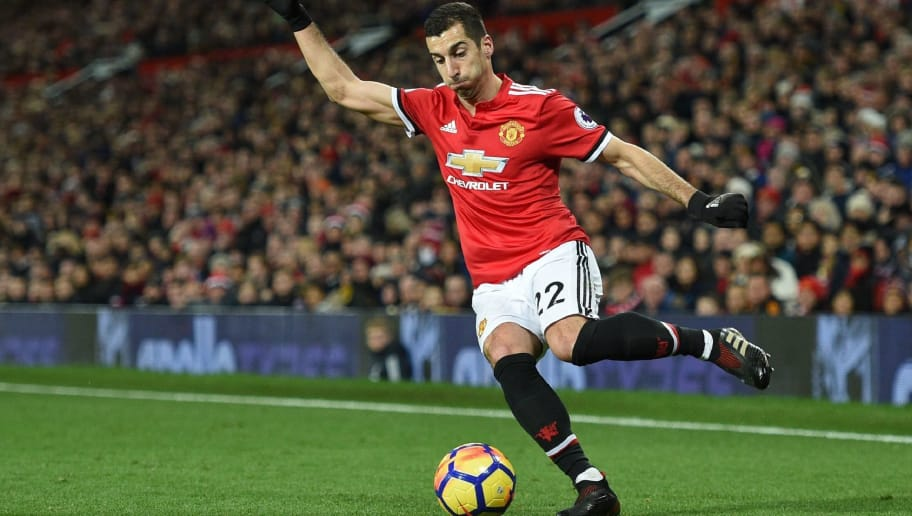 Manchester United's Armenian midfielder Henrikh Mkhitaryan controls the ball during the English Premier League football match between Manchester United and Southampton at Old Trafford in Manchester, north west England, on December 30, 2017. / AFP PHOTO / Oli SCARFF / RESTRICTED TO EDITORIAL USE. No use with unauthorized audio, video, data, fixture lists, club/league logos or 'live' services. Online in-match use limited to 75 images, no video emulation. No use in betting, games or single club/league/player publications.  /         (Photo credit should read OLI SCARFF/AFP/Getty Images)