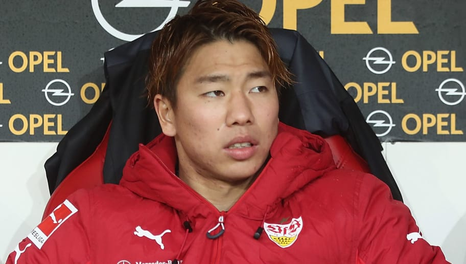 MAINZ, GERMANY - JANUARY 20:  Takuma Asano sits on the bench prior to the Bundesliga match between 1. FSV Mainz 05 and VfB Stuttgart at Opel Arena on January 20, 2018 in Mainz, Germany.  (Photo by Alex Grimm/Bongarts/Getty Images)