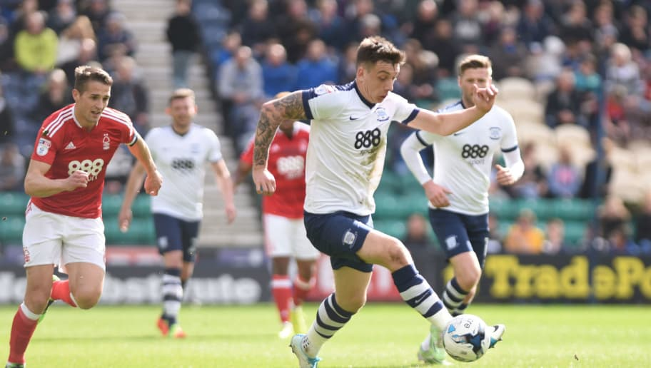 PRESTON, ENGLAND- APRIL 1: Jordan Hugill of Preston North End in action during the Sky Bet Championship match between Preston North End and Nottingham Forest at Deepdale on April 1, 2017 in Preston, England. (Photo by Nathan Stirk/Getty Images)