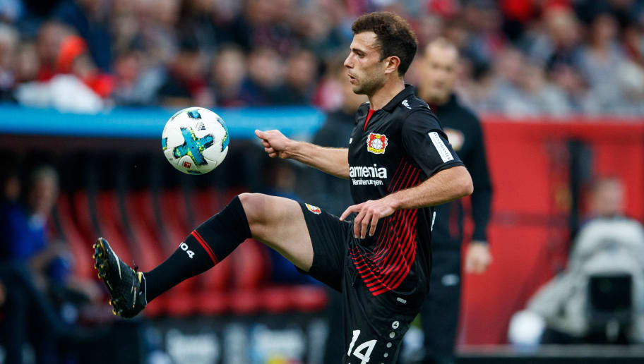LEVERKUSEN, GERMANY - SEPTEMBER 24:  Admir Mehmedi of Bayer Leverkusen runs with the ball during the Bundesliga match between Bayer 04 Leverkusen and Hamburger SV at BayArena on September 24, 2017 in Leverkusen, Germany.  (Photo by Lars Baron/Bongarts/Getty Images)