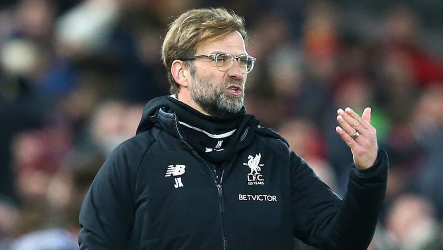 LIVERPOOL, ENGLAND - JANUARY 27:  Jurgen Klopp, Manager of Liverpool looks dejected during The Emirates FA Cup Fourth Round match between Liverpool and West Bromwich Albion at Anfield on January 27, 2018 in Liverpool, England.  (Photo by Alex Livesey/Getty Images)