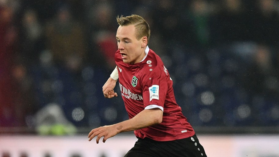 HANOVER, GERMANY - JANUARY 30:  Uffe Manich Bech of Hannover scores his goal  during the Second Bundesliga match between Hannover 96 and 1. FC Kaiserslautern at HDI-Arena on January 30, 2017 in Hanover, Germany.  (Photo by Stuart Franklin/Bongarts/Getty Images)