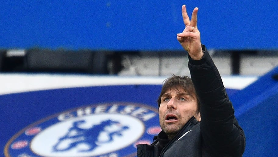 Chelsea's Italian head coach Antonio Conte gestures on the touchline during the English FA Cup fourth round football match between Chelsea and Newcastle United at Stamford Bridge in London on January 28, 2018. Chelsea won the game 3-0. / AFP PHOTO / Glyn KIRK / RESTRICTED TO EDITORIAL USE. No use with unauthorized audio, video, data, fixture lists, club/league logos or 'live' services. Online in-match use limited to 75 images, no video emulation. No use in betting, games or single club/league/player publications.  /         (Photo credit should read GLYN KIRK/AFP/Getty Images)