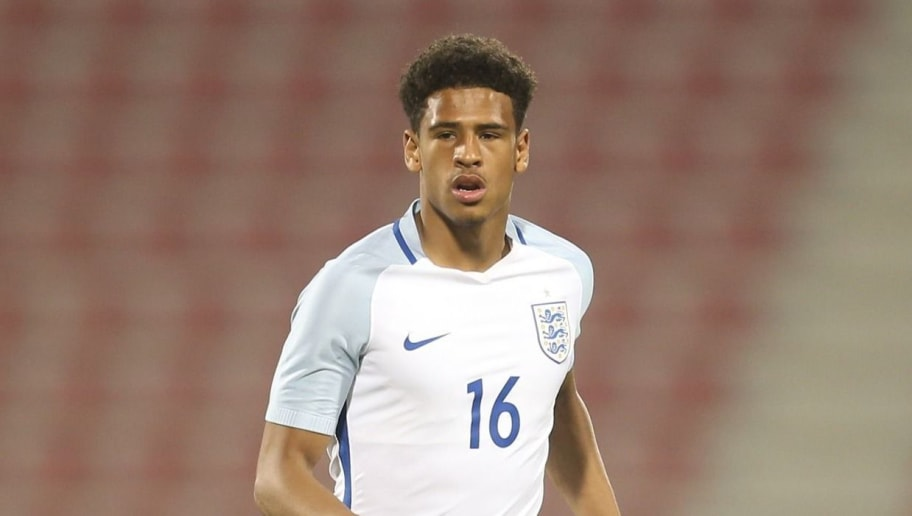 DOHA, QATAR - MARCH 27:  Marcus MCGuane of England in action during the U18 International friendly match between Qatar and England at the Grand Hamad Stadium on March 27, 2017 in Doha, Qatar. (Photo by AK BijuRaj/Getty Images)