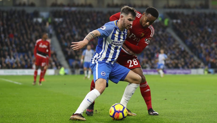 BRIGHTON, ENGLAND - DECEMBER 23:  Pascal Gross of Brighton and Hove Albion battles for possesion with Andre Carrilo of Watford during the Premier League match between Brighton and Hove Albion and Watford at Amex Stadium on December 23, 2017 in Brighton, England.  (Photo by Bryn Lennon/Getty Images)