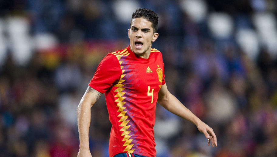 MALAGA, SPAIN - NOVEMBER 11:Marc Bartra of Spain reacts during the international friendly match between Spain and Costa Rica at La Rosaleda Stadium on November 11, 2017 in Malaga, Spain.  (Photo by Aitor Alcalde/Getty Images)