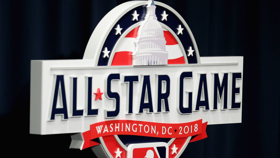 WASHINGTON, DC - JULY 26:  The logo for the 2018 All Star Game is shown during a news conference at Nationals Park before the start of the Washington Nationals and Milwaukee Brewers game on July 26, 2017 in Washington, DC.  (Photo by Rob Carr/Getty Images)