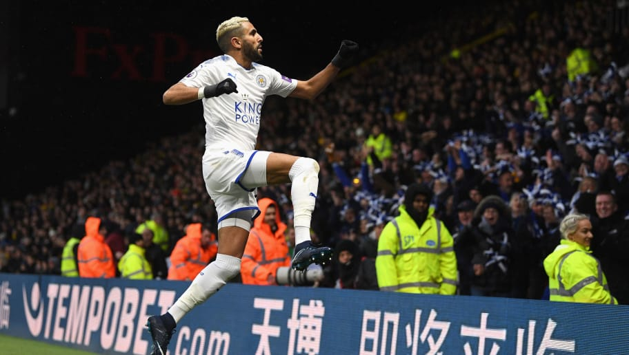 WATFORD, ENGLAND - DECEMBER 26:  Riyad Mahrez of Leicester City celebrates scoring the opening goal during the Premier League match between Watford and Leicester City at Vicarage Road on December 26, 2017 in Watford, England.  (Photo by Michael Regan/Getty Images)